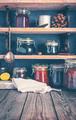 Homemade jam on shelves