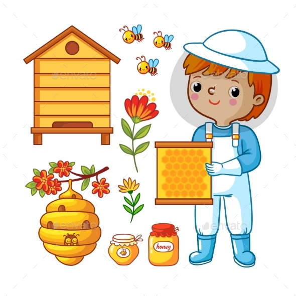 Vector Set with Bee Apiary and Boy - Flowers & Plants Nature
