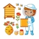 Vector Set with Bee Apiary and Boy
