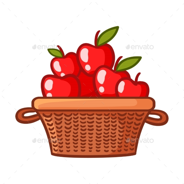 Basket with Apples - Food Objects