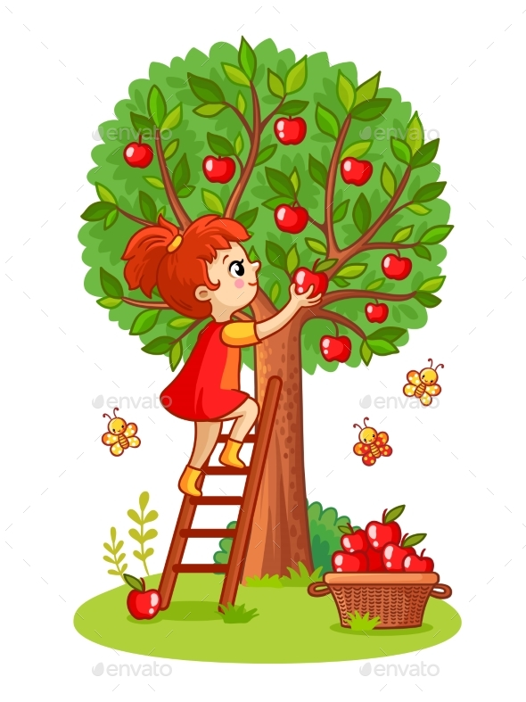GraphicRiver Girl on the Stairs Collects Apples 20837745