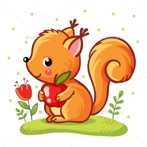 GraphicRiver Squirrel Sitting on a Meadow 20837746