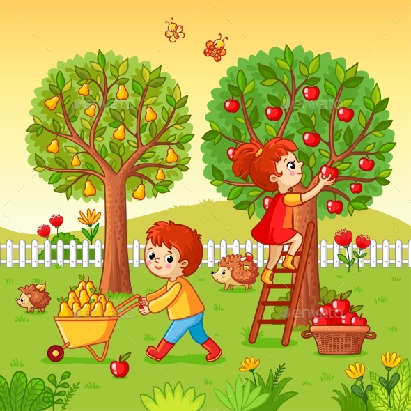 GraphicRiver Boy and Girl Collect Fruit Harvest 20837754