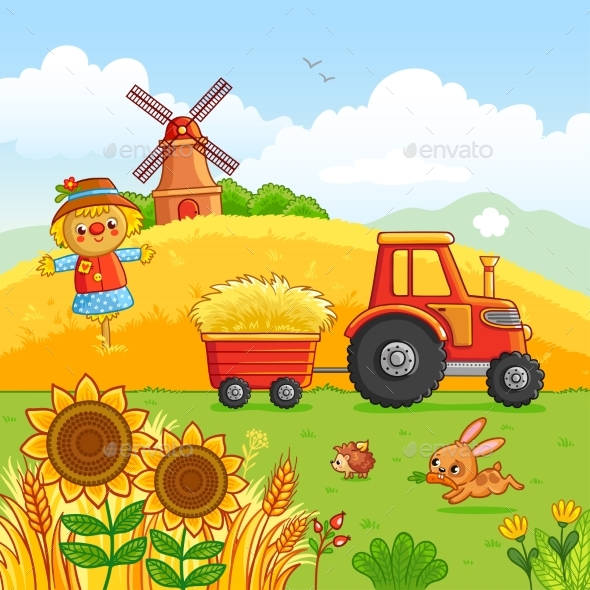 Tractor Carries a Hay - Miscellaneous Vectors