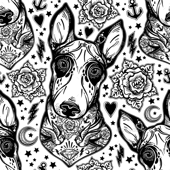 Flash Bull Terrier Dog Seamless Pattern and Roses - Backgrounds Decorative