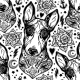 Flash Bull Terrier Dog Seamless Pattern and Roses