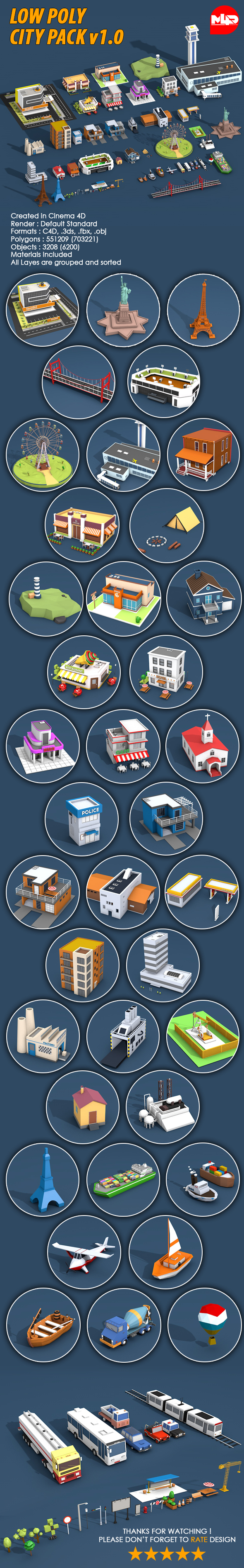 Low Poly City Pack v1.0 - 3DOcean Item for Sale