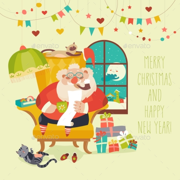 GraphicRiver Santa Claus Sitting in Armchair and Reading Letter 20837853