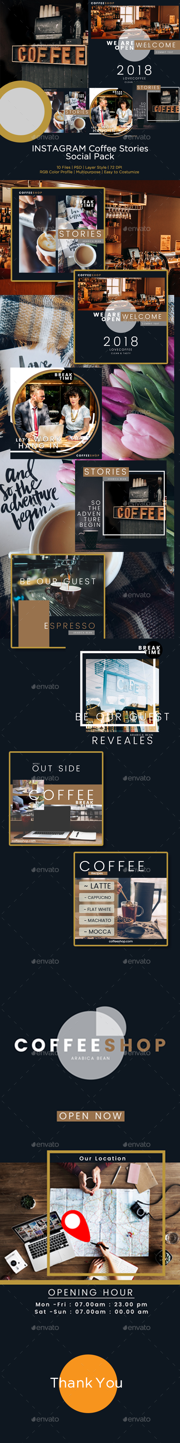 GraphicRiver PSD Instagram Coffee Stories Template 20815051