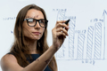 Woman draws various growth charts, calculating prospects for suc