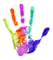 Close-up of colored hand print on white background