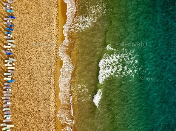 Top view of the beach and sun loungers. The deserted coast of th - Stock Photo - Images