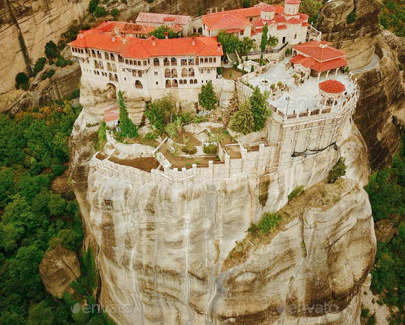 Aerial photo of the rock formations and monasteries of Meteora, - Stock Photo - Images