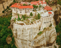Aerial photo of the rock formations and monasteries of Meteora,