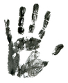 Close-up of black hand print on white background