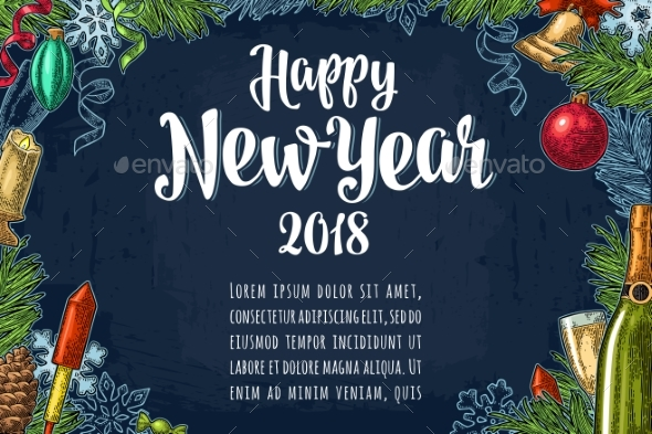 Poster Horizontal Happy New Year Calligraphy - New Year Seasons/Holidays