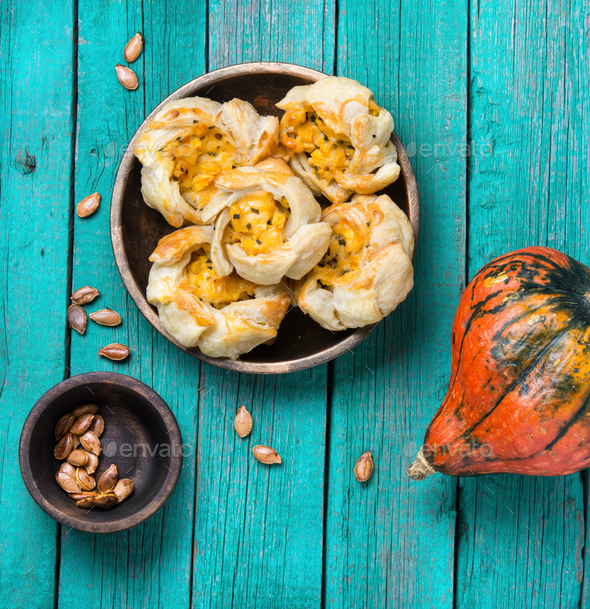 garlic biscuits with pumpkin - Stock Photo - Images