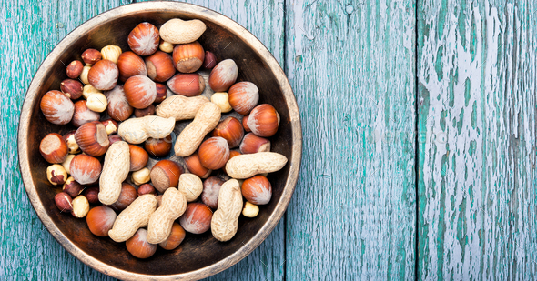 hazelnuts and peanuts - Stock Photo - Images