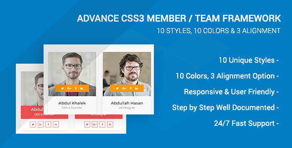 CodeCanyon Advance CSS3 Member Team Framework 20827420