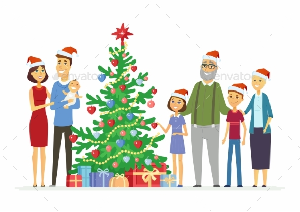 Happy Family Celebrates Christmas - Cartoon People - Christmas Seasons/Holidays