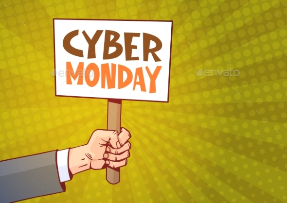 GraphicRiver Hand Holding Banner With Text Cyber Monday 20838725
