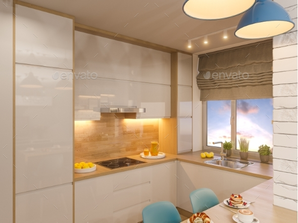 3d Illustration Kitchen Interior Design in White - Architecture 3D Renders