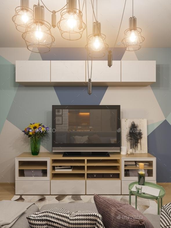 GraphicRiver 3D Illustration Living Room Interior Design 20839234
