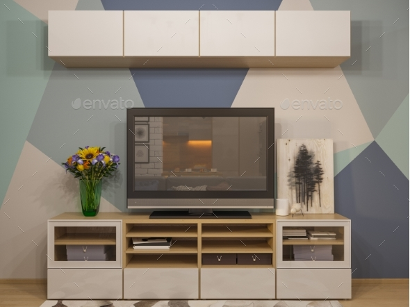 GraphicRiver 3D Illustration Living Room Interior Design 20839236
