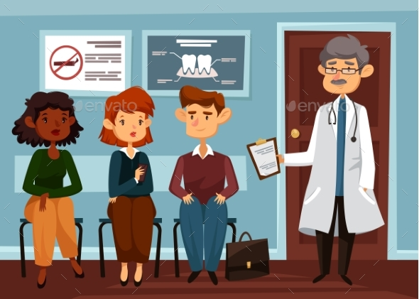 Doctor or Dentist with People Waiting in Line - Health/Medicine Conceptual