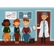 Doctor or Dentist with People Waiting in Line - GraphicRiver Item for Sale