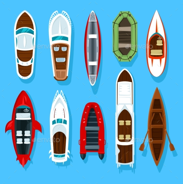 Fisherman Boats and Wooden Sailboat with Paddles - Man-made Objects Objects