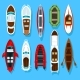 Fisherman Boats and Wooden Sailboat with Paddles - GraphicRiver Item for Sale