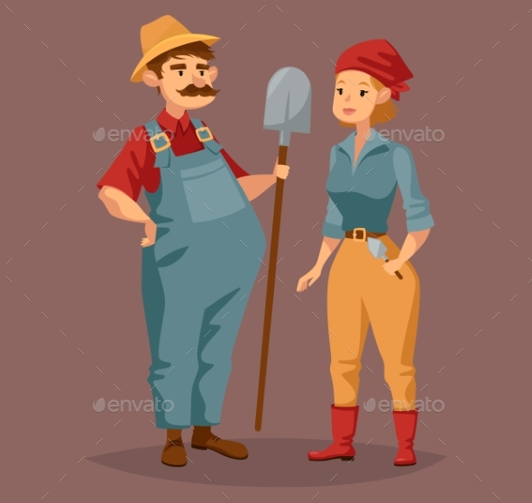 GraphicRiver Cartoon Gardener Man and Agriculture Worker Woman 20839295