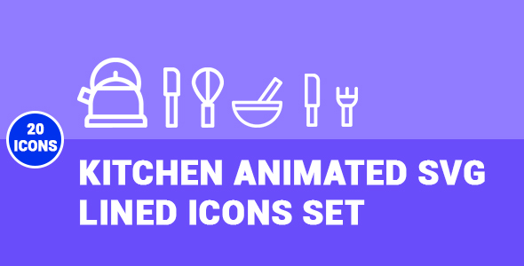CodeCanyon Kitchen Animated SVG Lined Icons Set 20435225