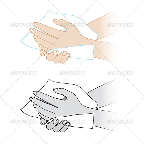 Hands with a napkin - People Characters