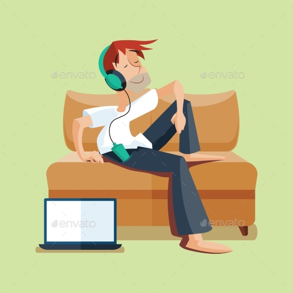 Man Resting on Sofa with Music - Miscellaneous Vectors