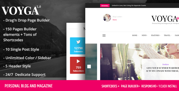 Image of Voyga - Personal Blog and Magazine Responsive WordPress Theme