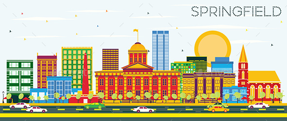GraphicRiver Springfield Skyline with Color Buildings and Blue Sky 20839816