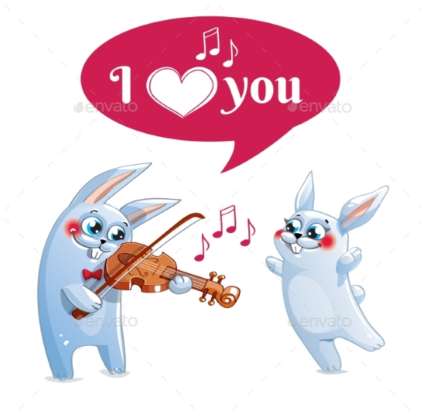 GraphicRiver The Hare Plays the Violin Love 20839925
