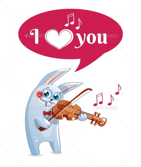 GraphicRiver The Hare Plays the Violin Love 20839932