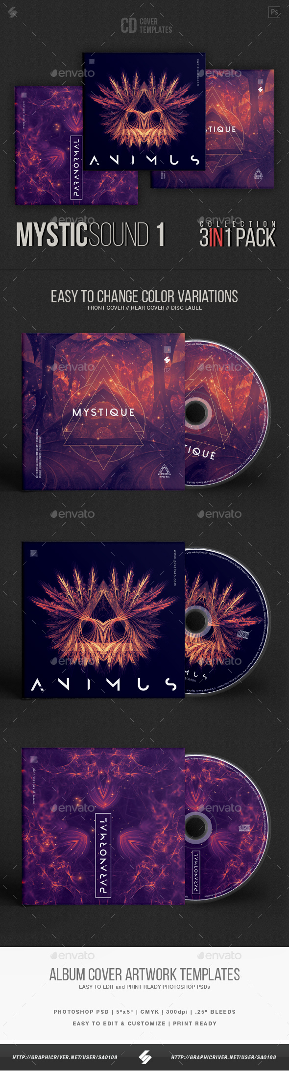 GraphicRiver Mystic Sound Collection CD Cover Artwork Templates Bundle 20840002
