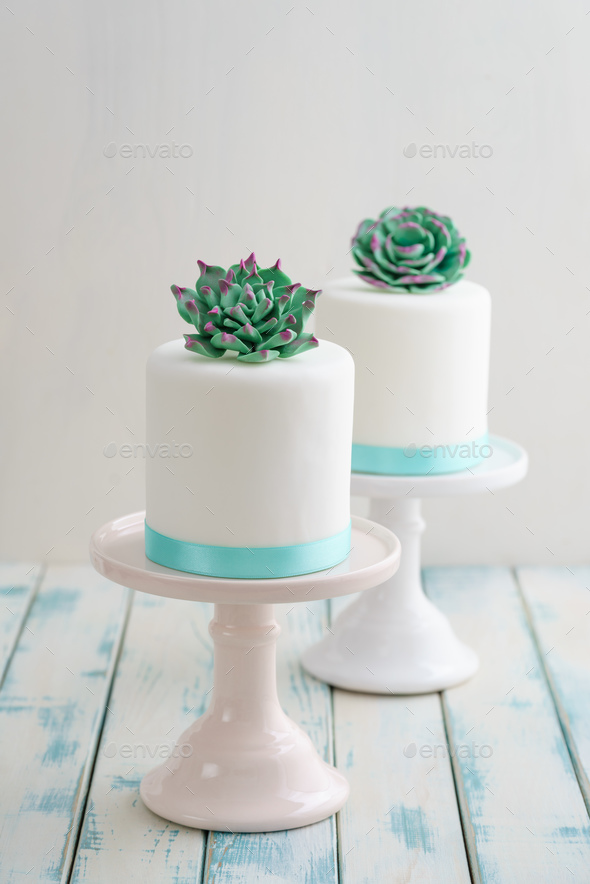 Mini succulent wedding cakes - Stock Photo - Images