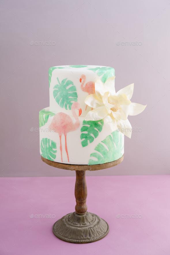 Tropical wedding cake - Stock Photo - Images