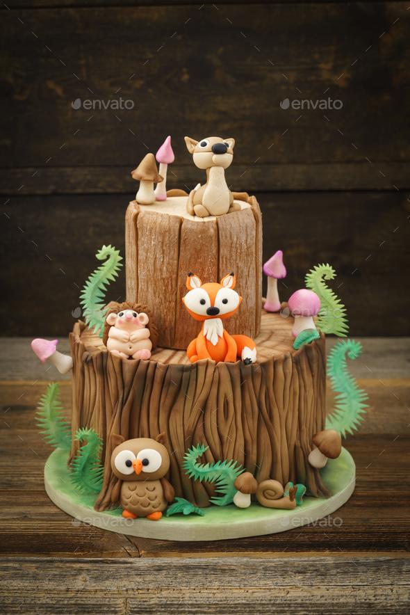 Enchanted forest cake - Stock Photo - Images