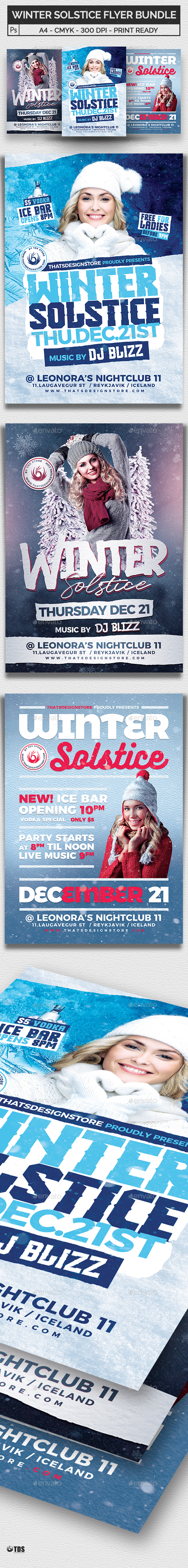 Winter Solstice Flyer Bundle - Clubs & Parties Events