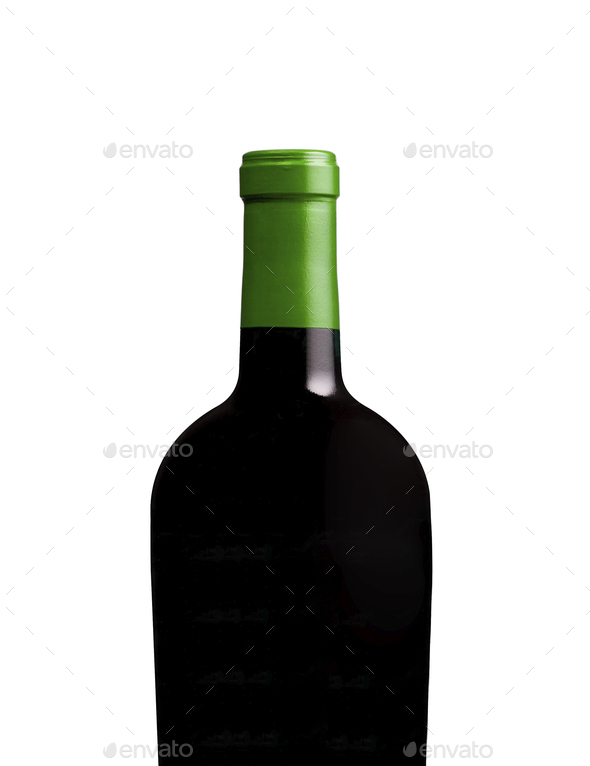 red wine and a bottle isolated - Stock Photo - Images