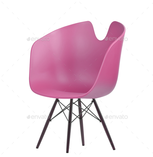 pink plastic chair - Stock Photo - Images