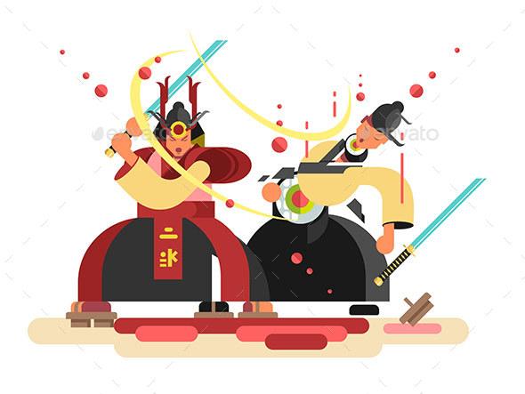 Sushi Character Samurai Design - People Characters