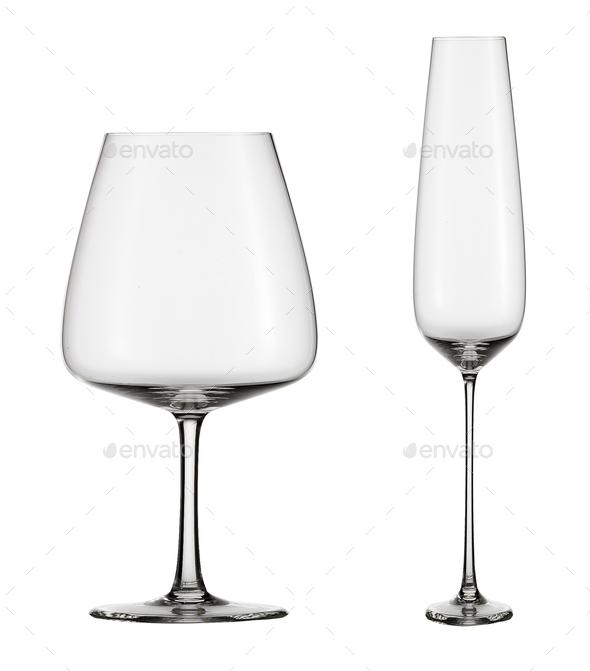 empty wine glasses isolated - Stock Photo - Images