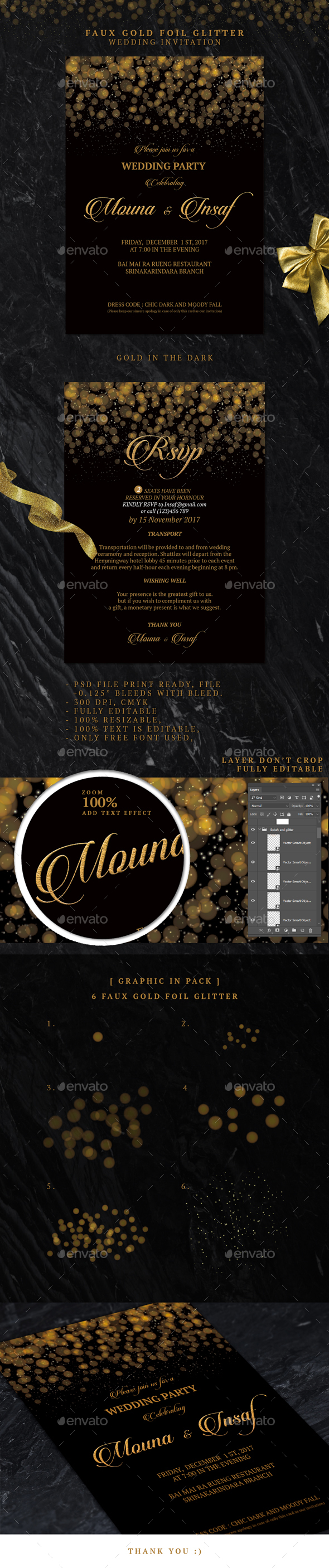 Faux Gold Foil Glitter Wedding Invitation - Weddings Cards & Invites